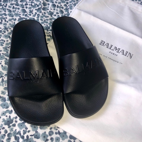 1e9b8f68 Balmain Shoes | Calypso Logo Slide Sandal | Poshmark